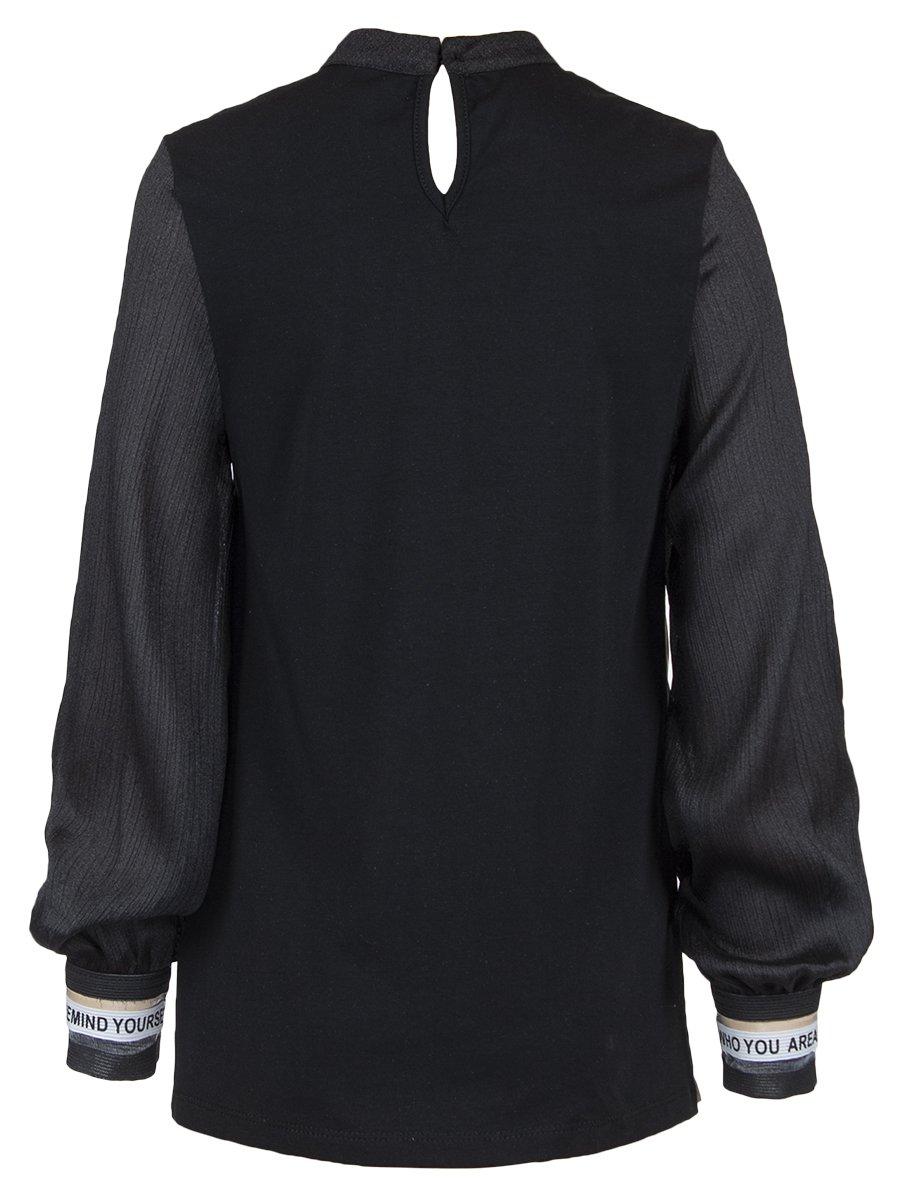 Блузка трикотажная из кулирки с лайкрой, плиссированного трикотажа и шифона, цвет: черный