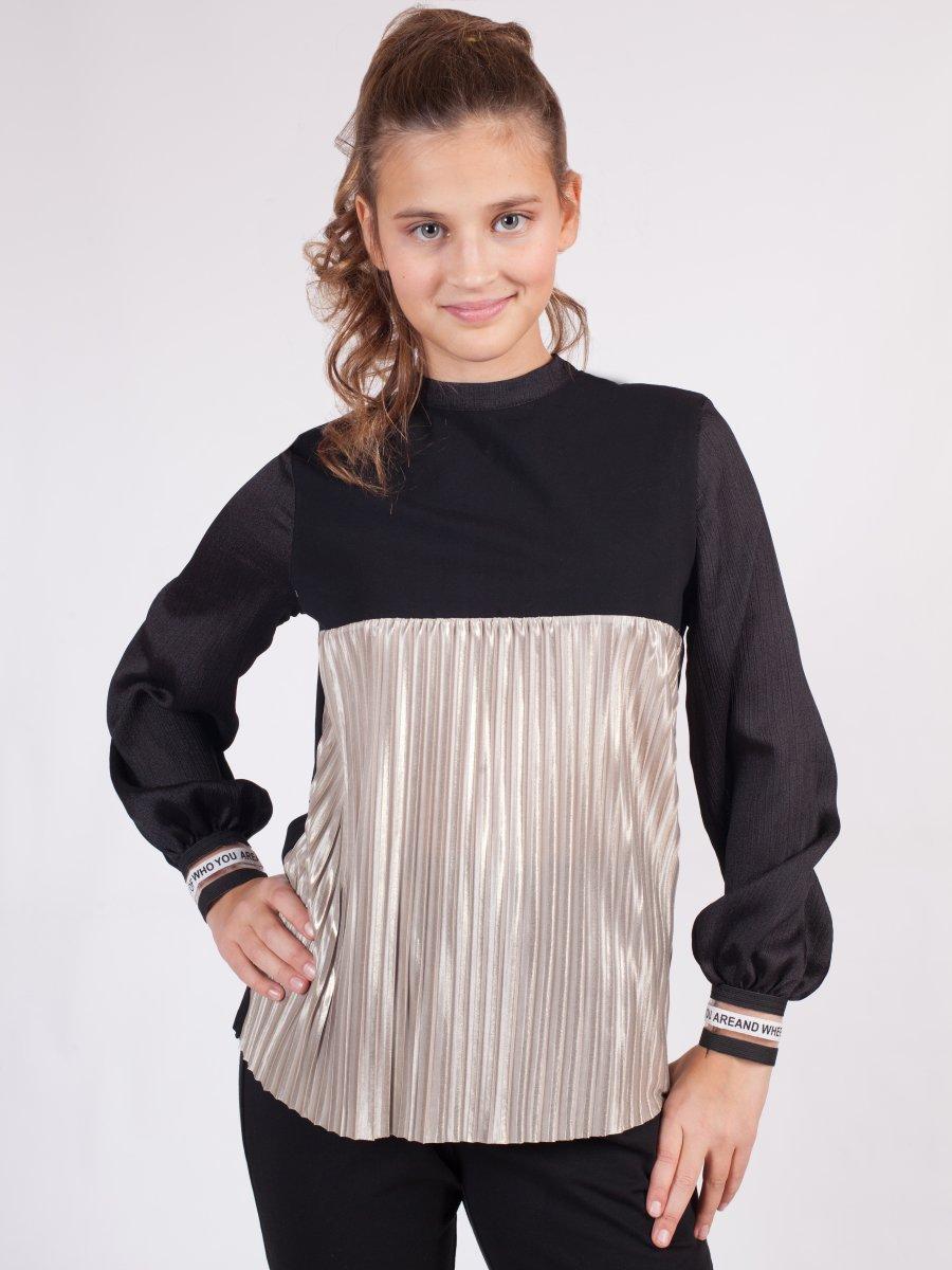 Блузка прямого силуэта, цвет: черный
