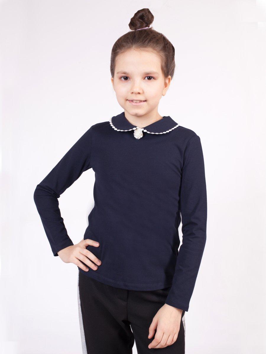 Блузка прилегающего силуэта, цвет: темно-синий