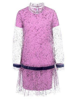 Платье из кулирки с лайкрой и сетки