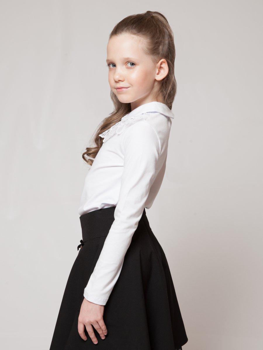 Блузка прилегающего силуэта, цвет: белый