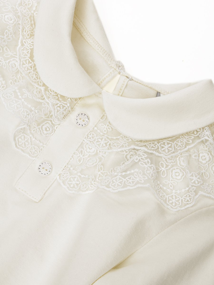 Блузка трикотажная из кулирки с лайкрой, цвет: молочный