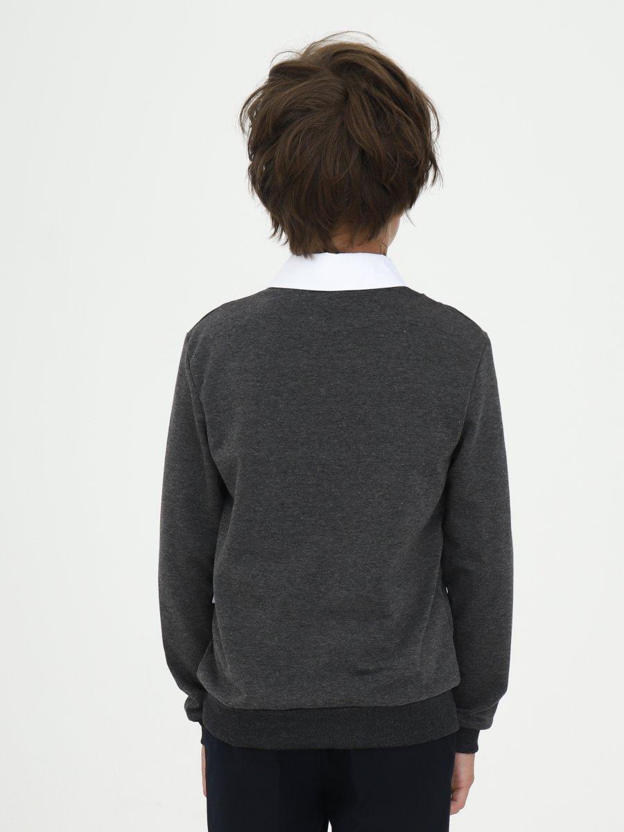 Джемпер-обманка для мальчика, цвет: темно-серый,белый