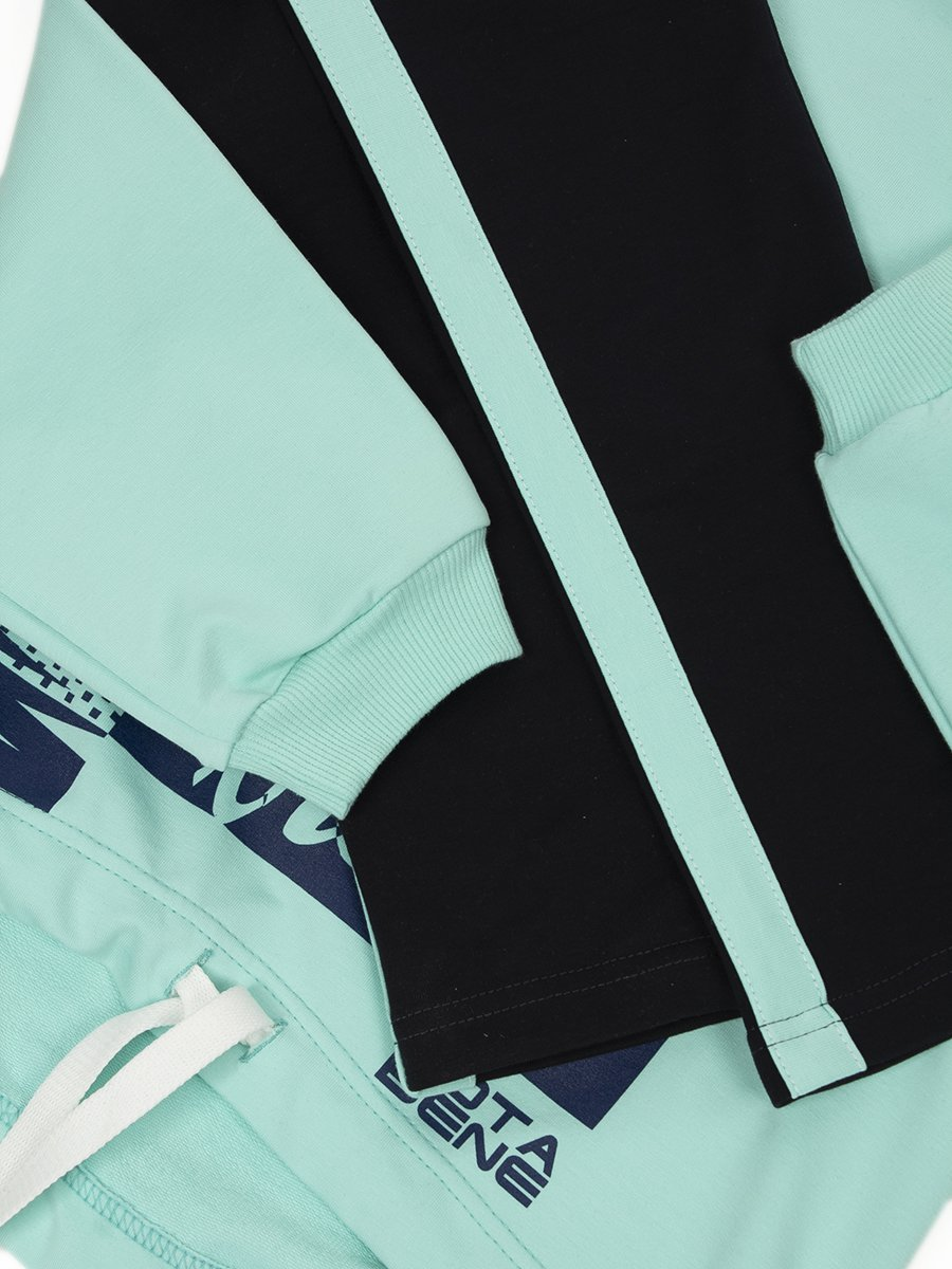 Костюм спортивный для девочки из футера 2-х нитки, цвет: мятный
