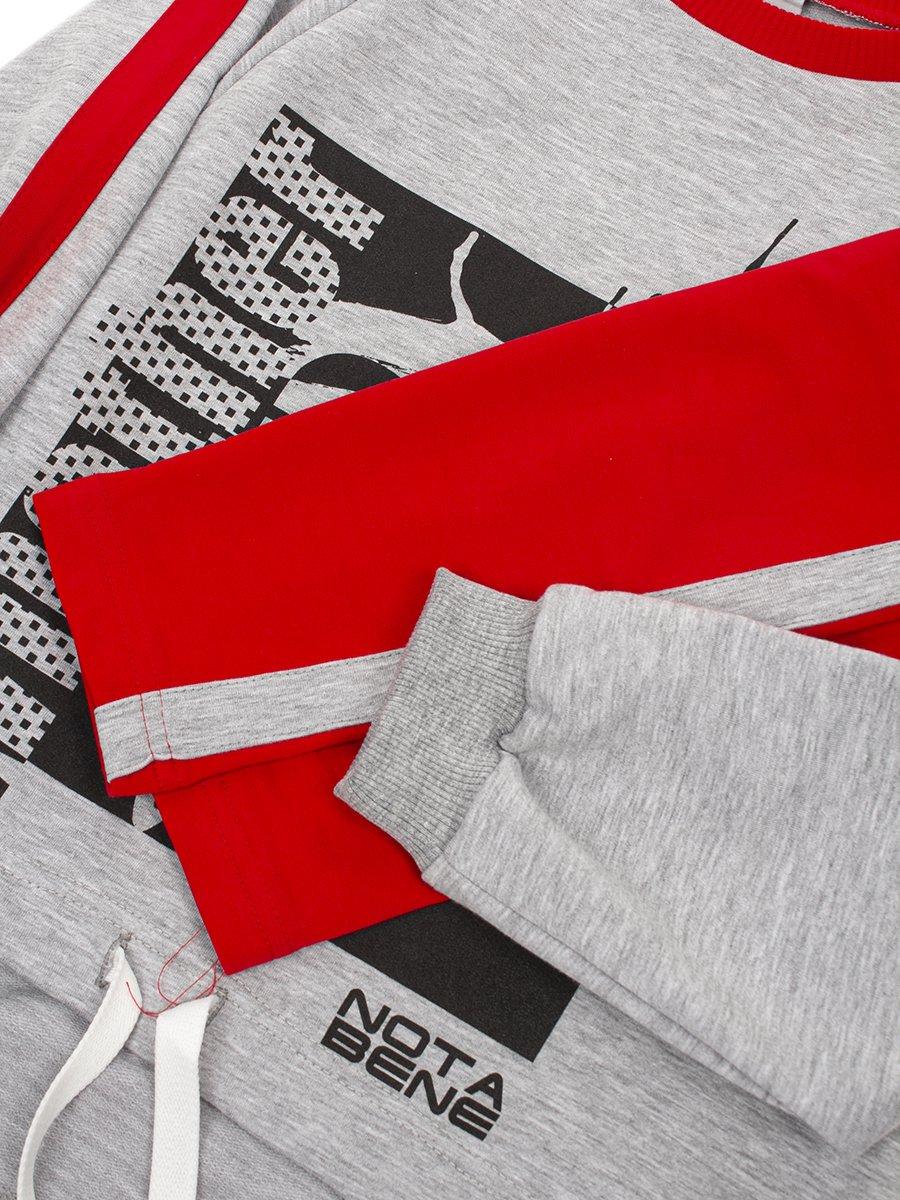 Костюм спортивный: свитшот оверсайз и леггинсы с лампасами, цвет: серый меланж