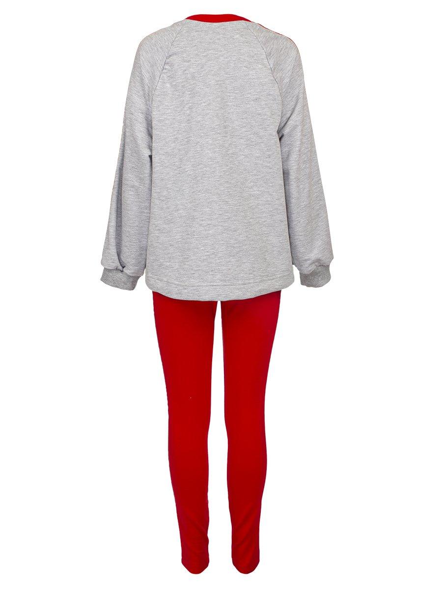 Костюм спортивный для девочки из футера 2-х нитки, цвет: серый меланж