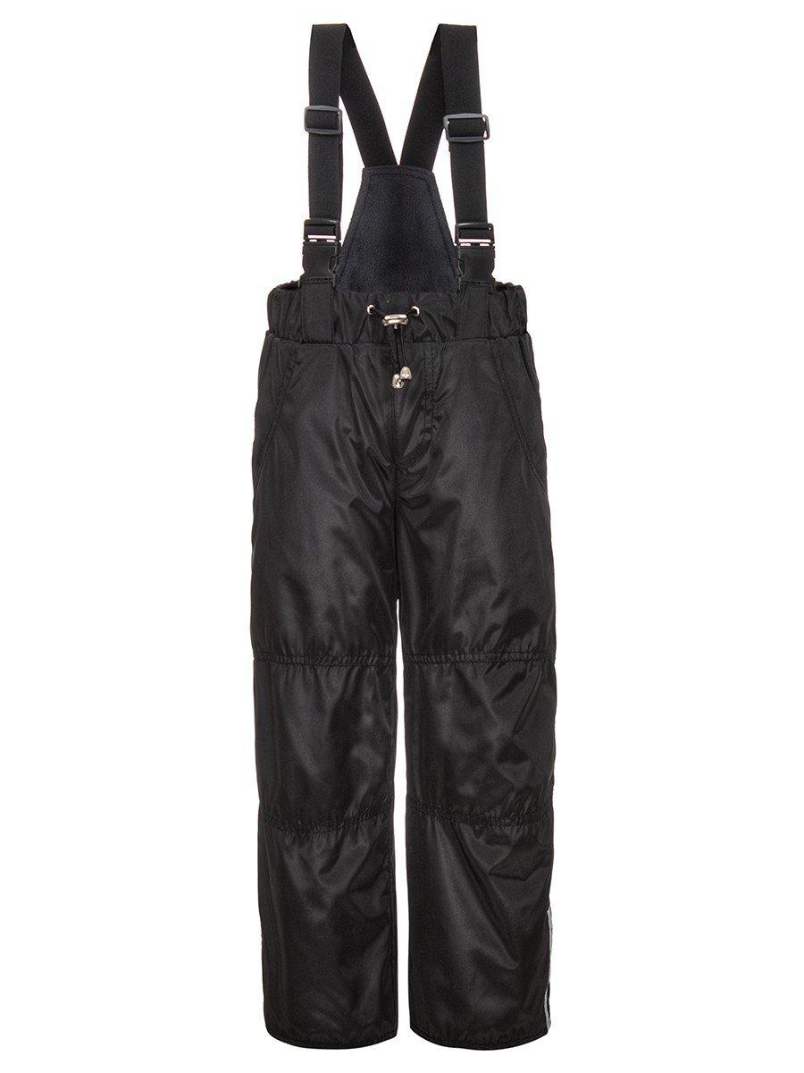 Брюки со спинкой из плащевой ткани на подкладке из флиса (мальчик), цвет: черный