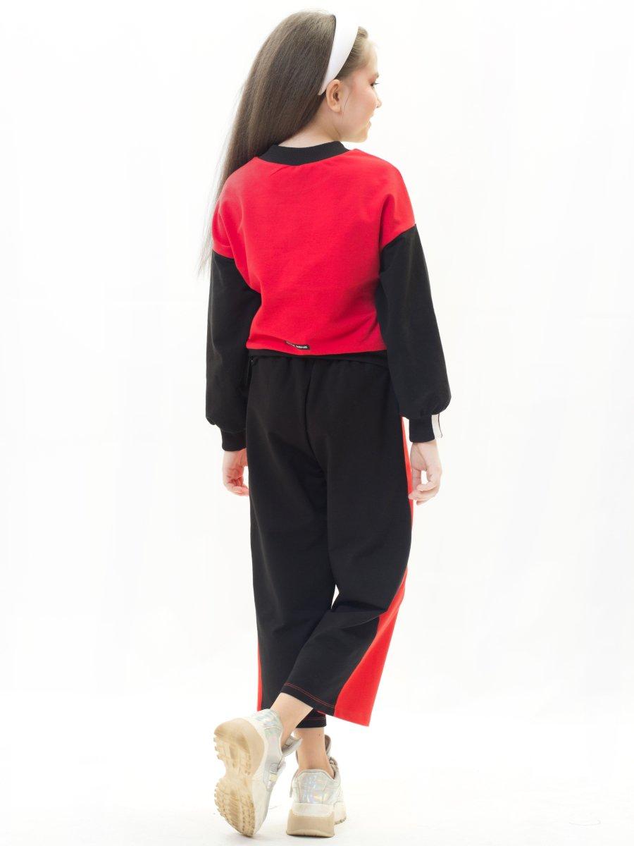 Брюки кюлоты со средней посадкой для девочки, цвет: красный