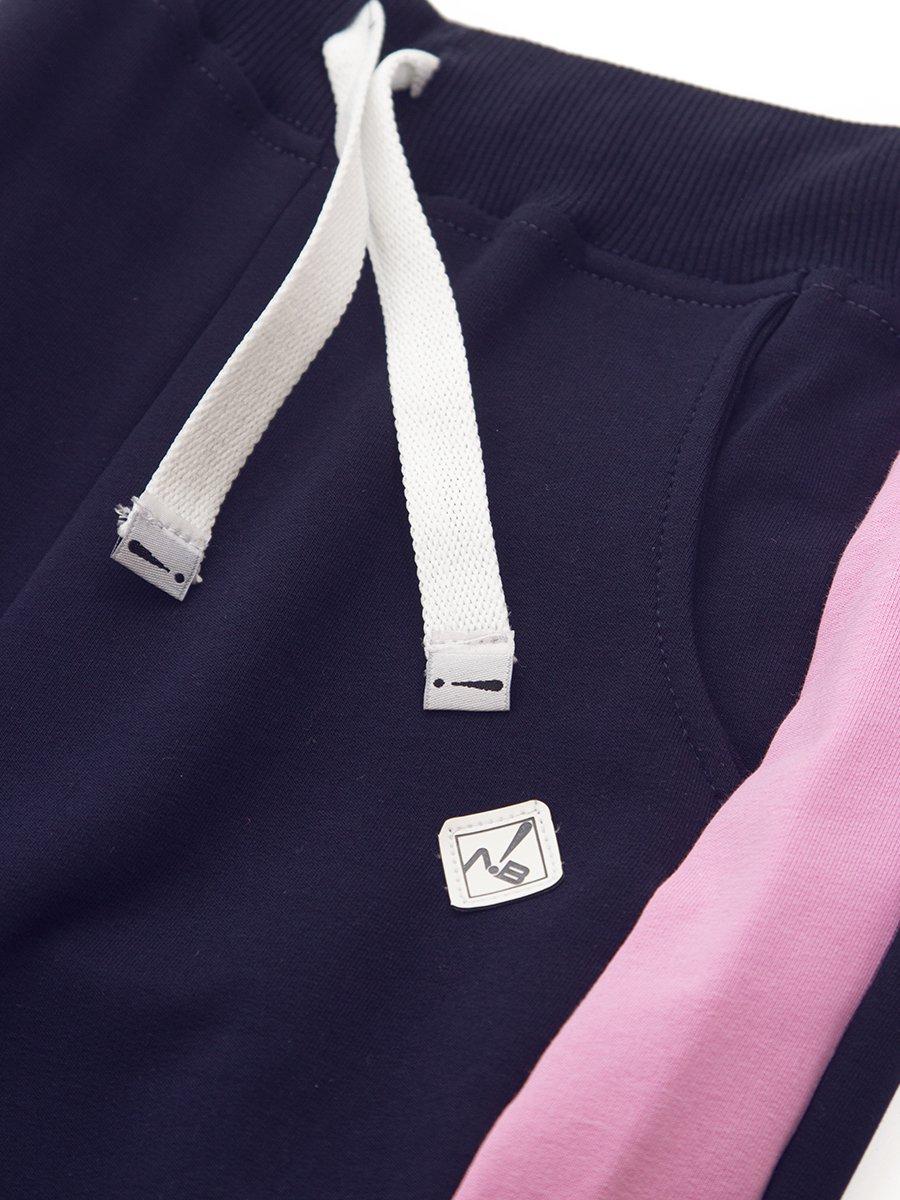 Брюки спортивные зауженные по низу на манжете для девочки, цвет: темно-синий