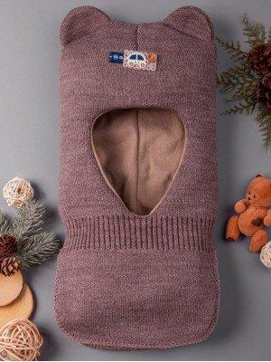 Шапка-шлем вязаная на трикотажной подкладке для мальчика