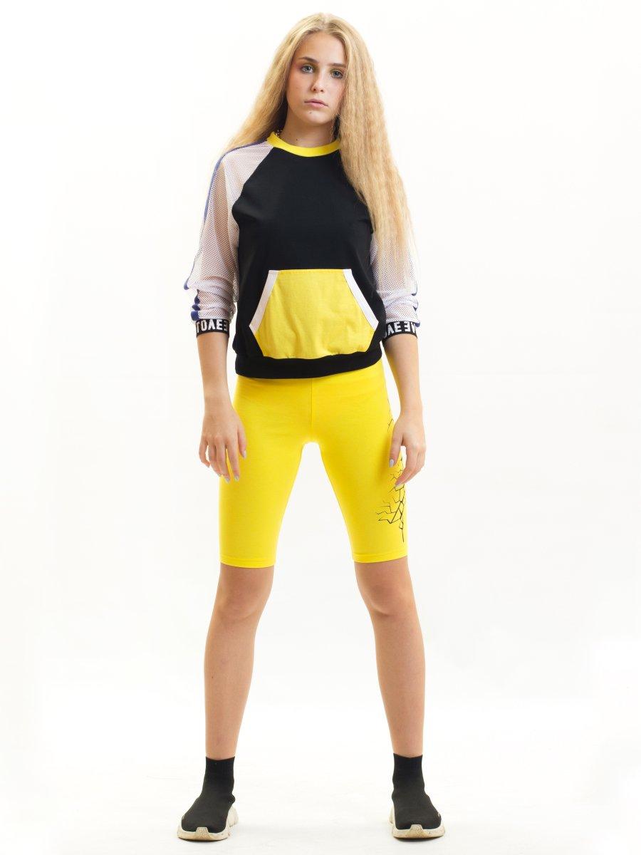 Бриджи для девочки из кулирки с лайкрой, цвет: желтый