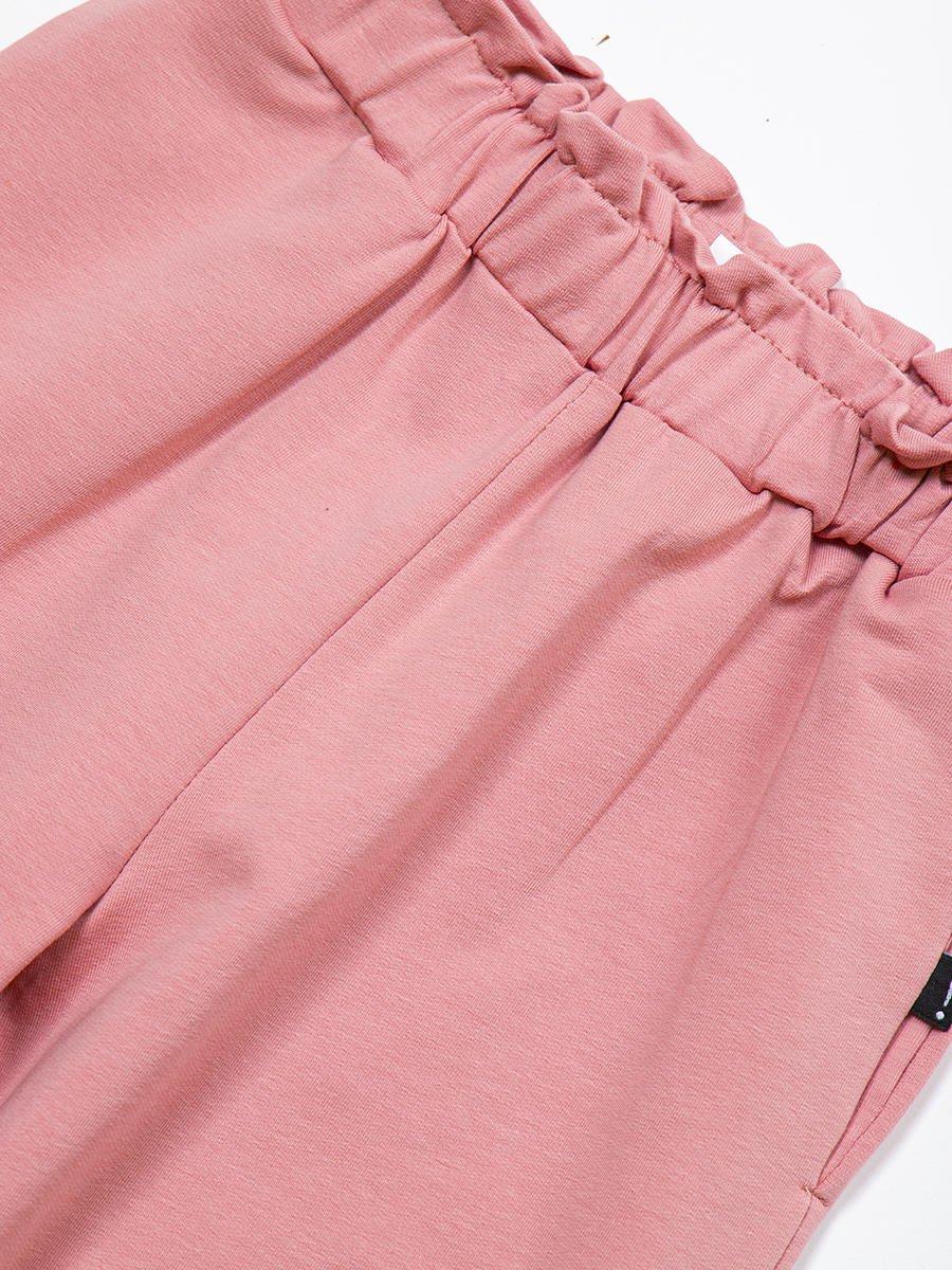 Брюки кюлоты со средней посадкой для девочки, цвет: пудра