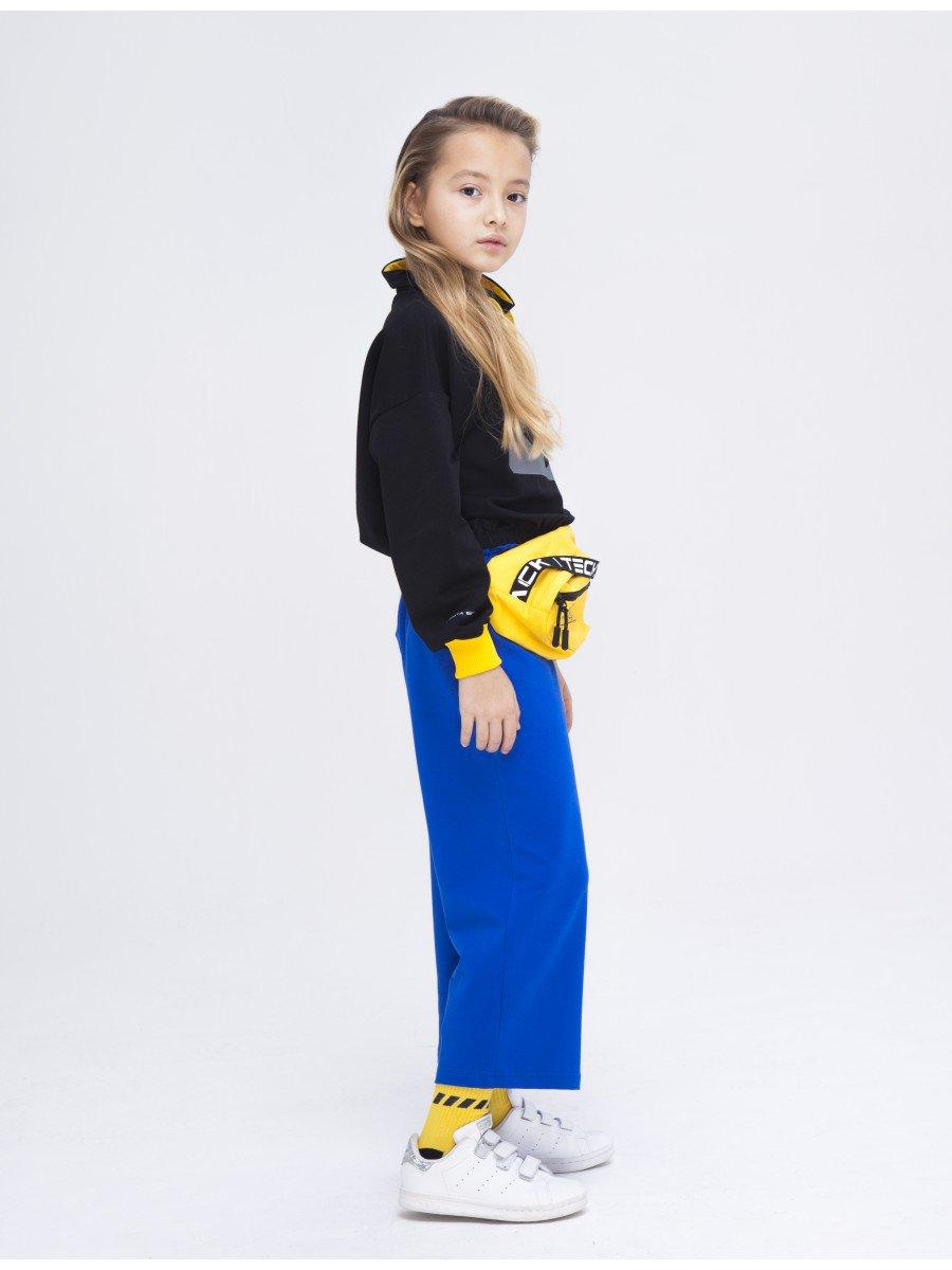 Брюки кюлоты со средней посадкой для девочки, цвет: васильковый