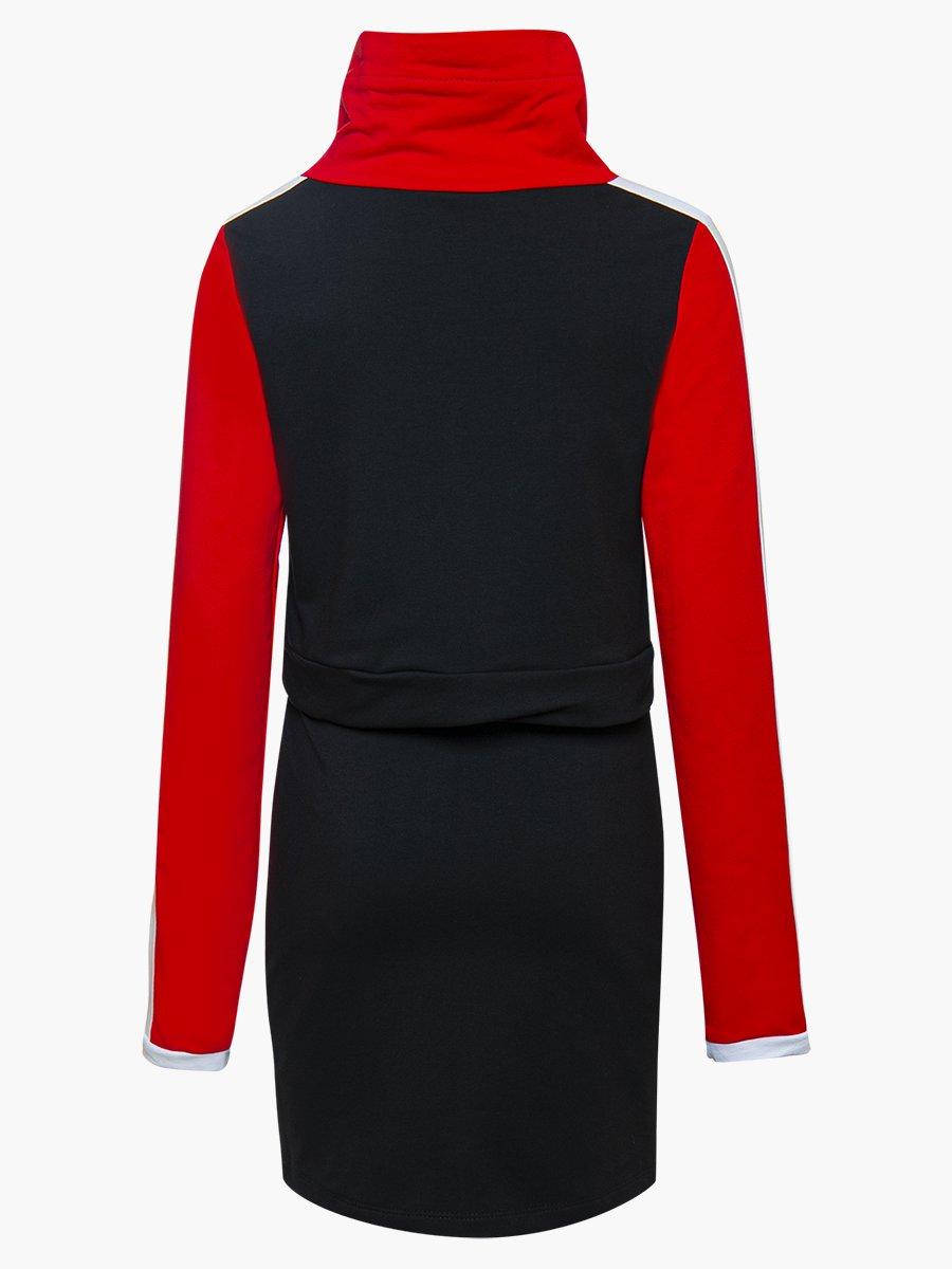 Комплект:  свитшот укороченный и юбка прилегающего силуэта, цвет: красный