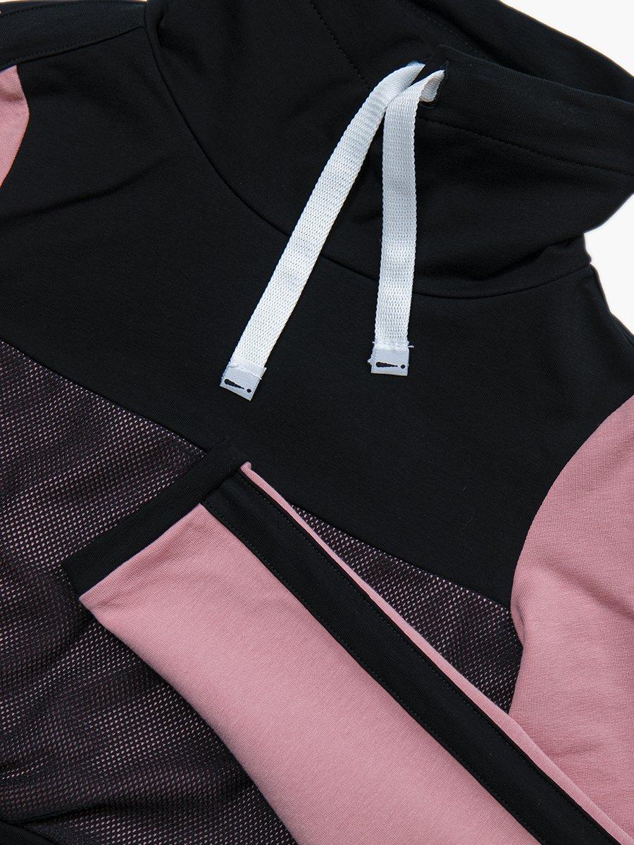 Комплект:  свитшот укороченный и юбка прилегающего силуэта, цвет: пудра