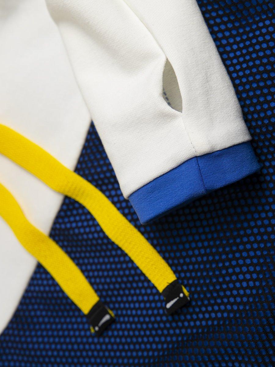 Комплект:  свитшот укороченный и юбка прилегающего силуэта, цвет: молоко,джинса