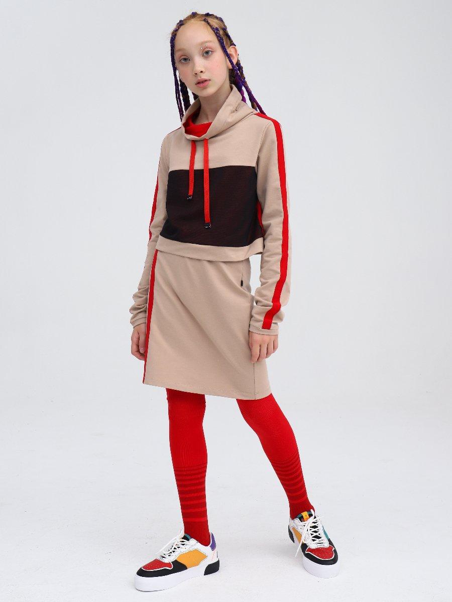 Комплект:  свитшот укороченный и юбка прилегающего силуэта, цвет: кэмел,красный