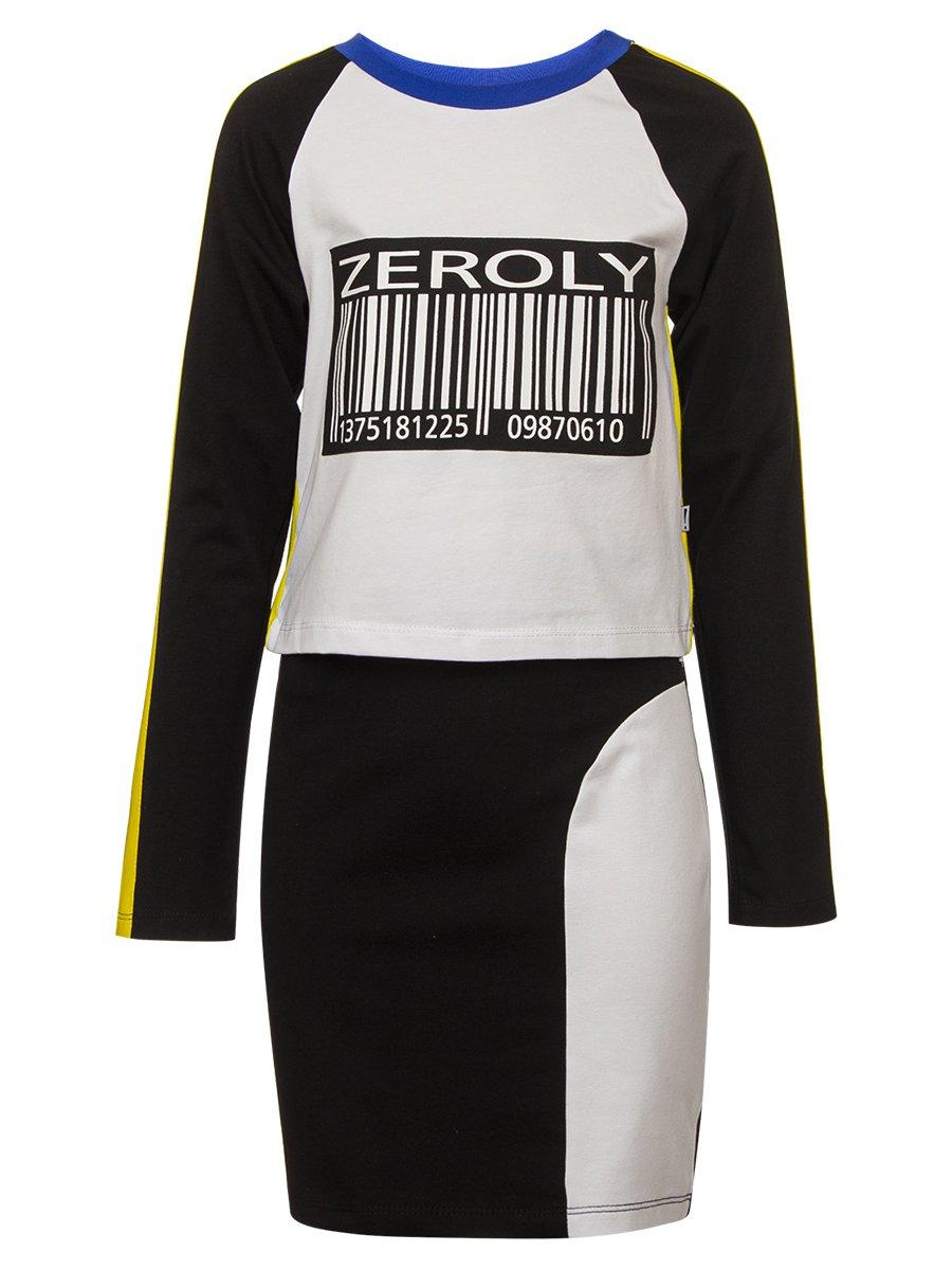 Комплект:свитшот укороченный и юбка прилегающего силуэта, цвет: графит