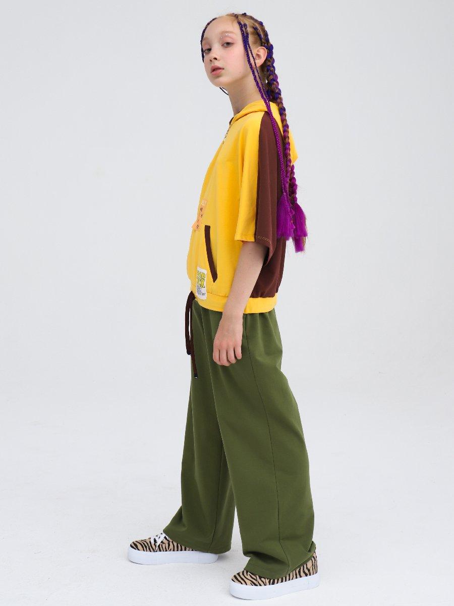 Свитшот с капюшоном для девочки, цвет: шафран,шоколад