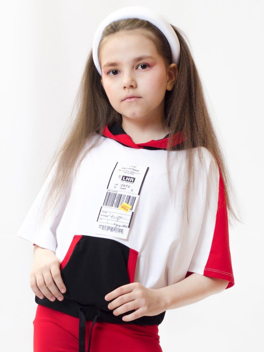 Свитшот с капюшоном для девочки, цвет: белый