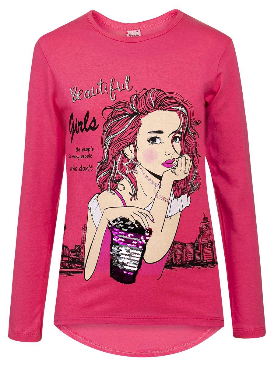 Лонгслив для девочки, цвет: розовый