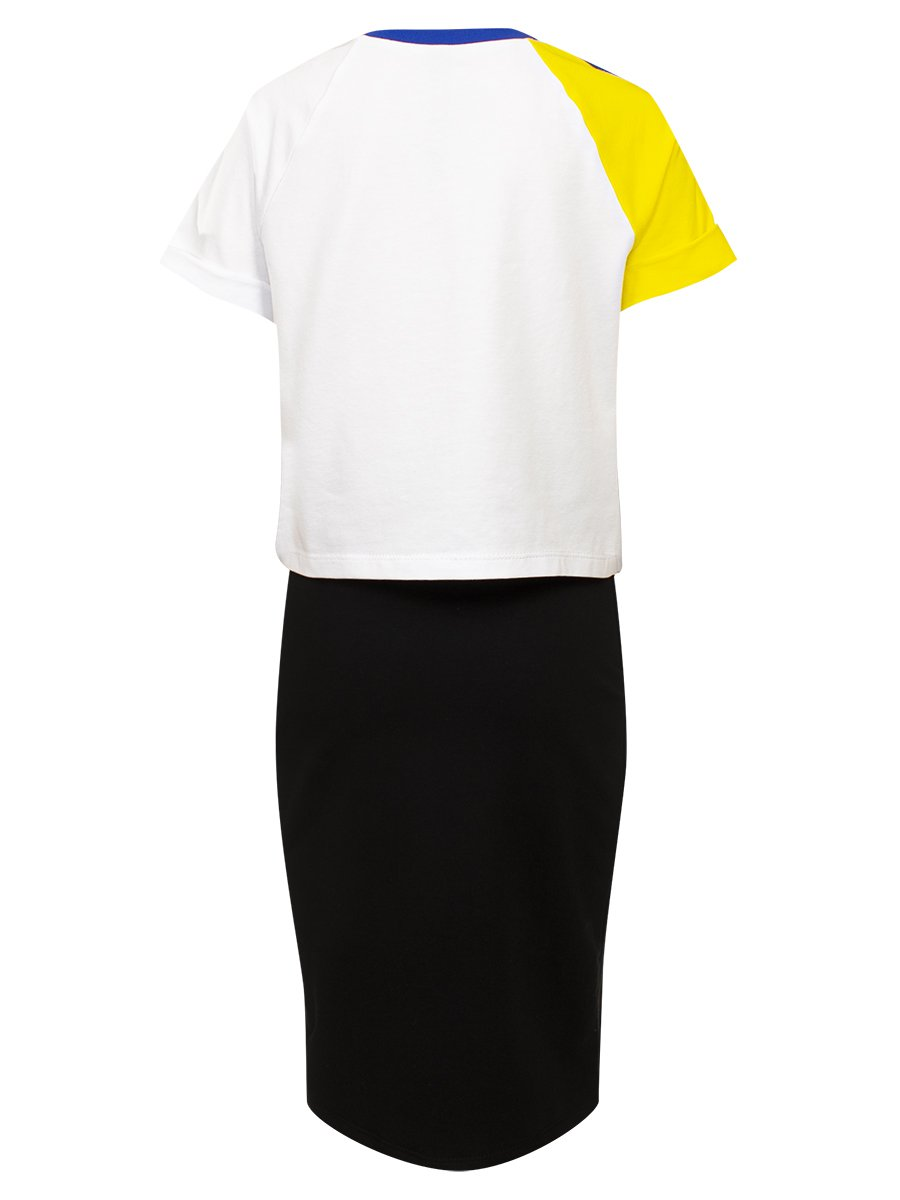 Комплект:футболка укороченная и юбка прилегающего силуэта, цвет: графит