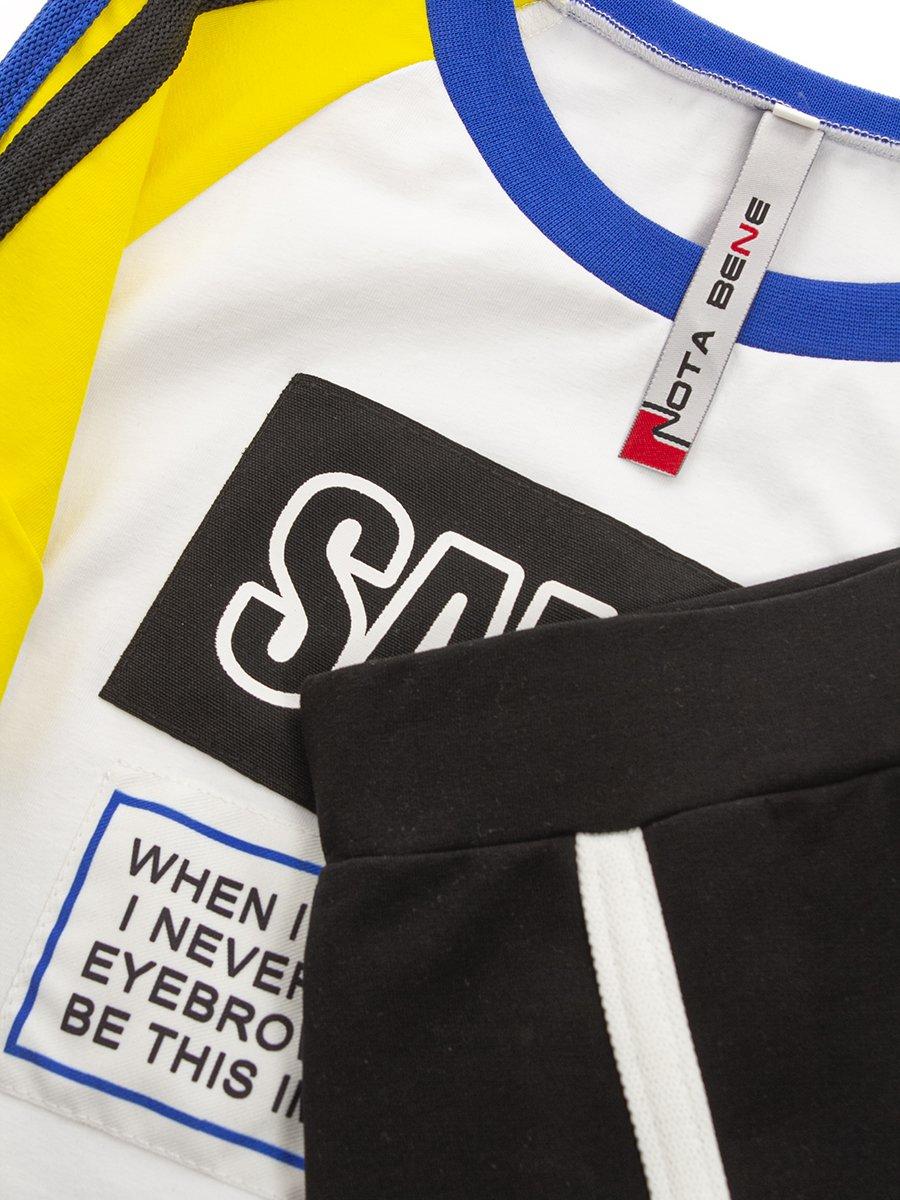 Комплект:футболка укороченная и юбка прилегающего силуэта, цвет: белый