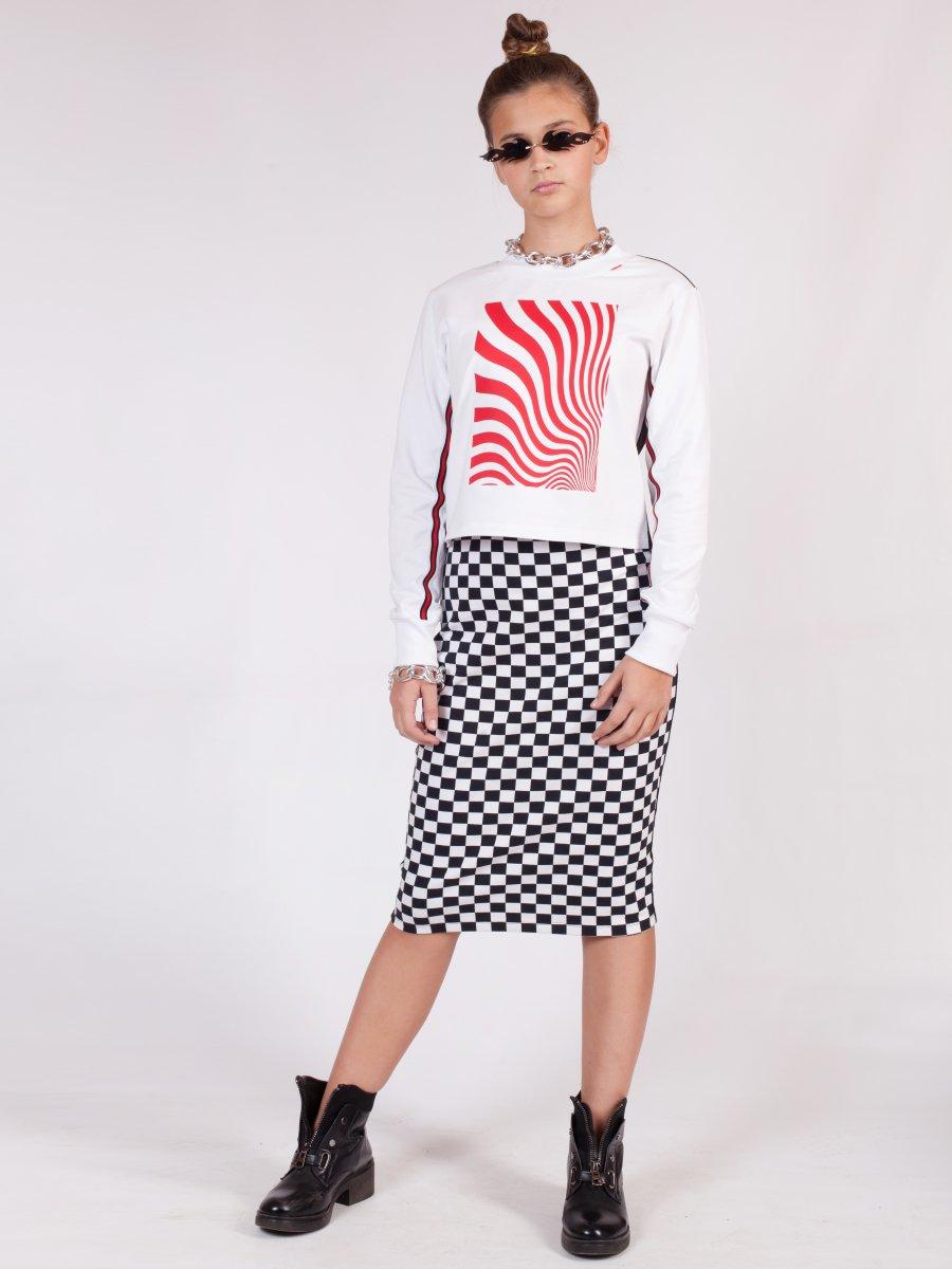 Комплект:свитшот укороченный и юбка прилегающего силуэта, цвет: мультиколор