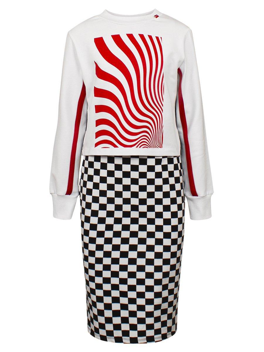 Комплект:свитшот укороченный и юбка прилегающего силуэта