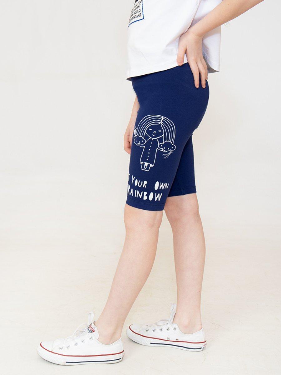Бриджи облегающие со средней посадкой для девочки, цвет: синий