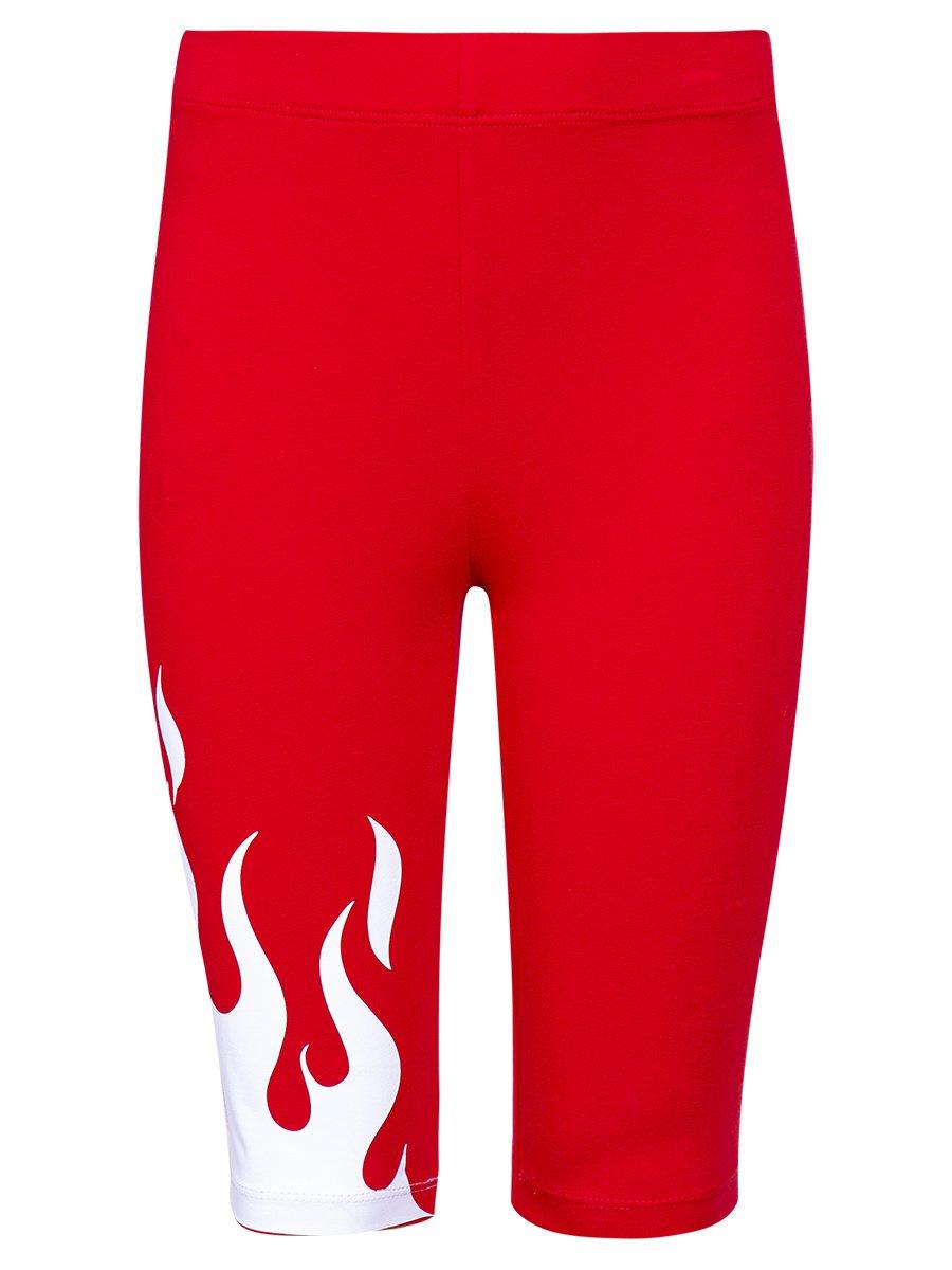 Бриджи облегающие со средней посадкой для девочки, цвет: красный