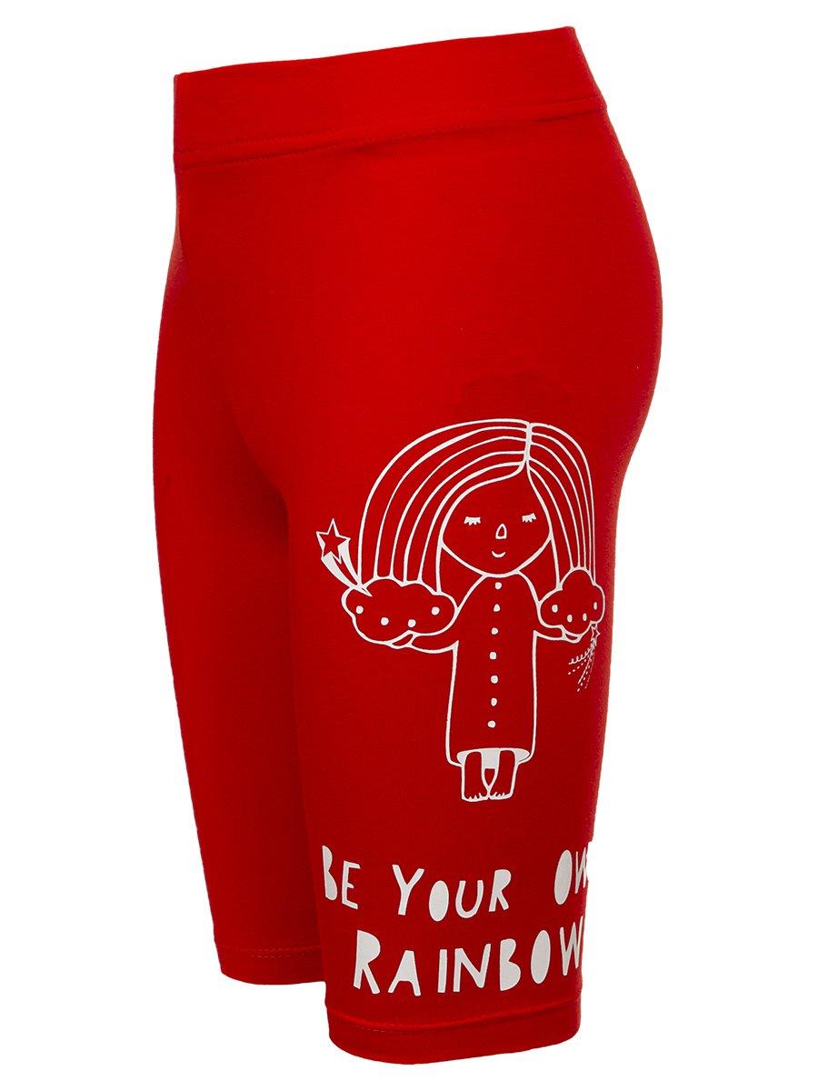 Бриджи для девочки из кулирки с лайкрой, цвет: красный