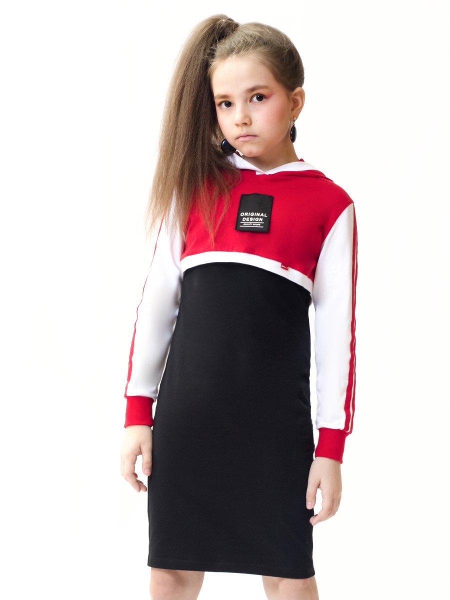 Комплект:свитшот укороченный и платье прилегающего силуэта, цвет: красный