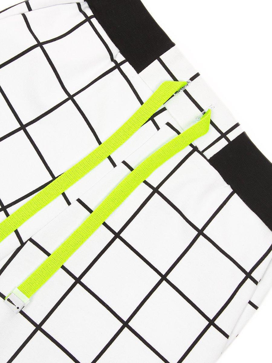 Бриджи для мальчика из футера 2-х нитки, цвет: белая клетка