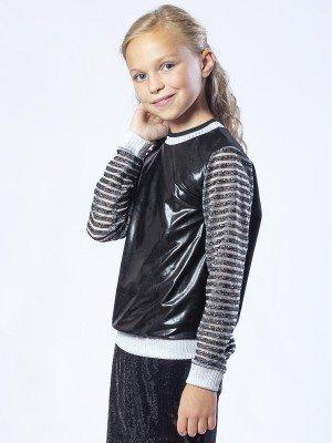 Свитшот для девочки из кулирки с лайкрой и трикотажного полотна с напылением