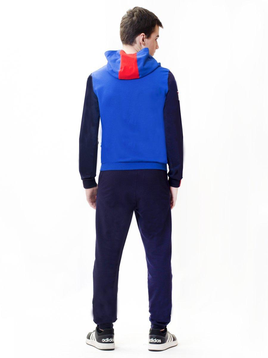 Комплект: свитшот и брюки прямого силуэта со средней посадкой, цвет: синий