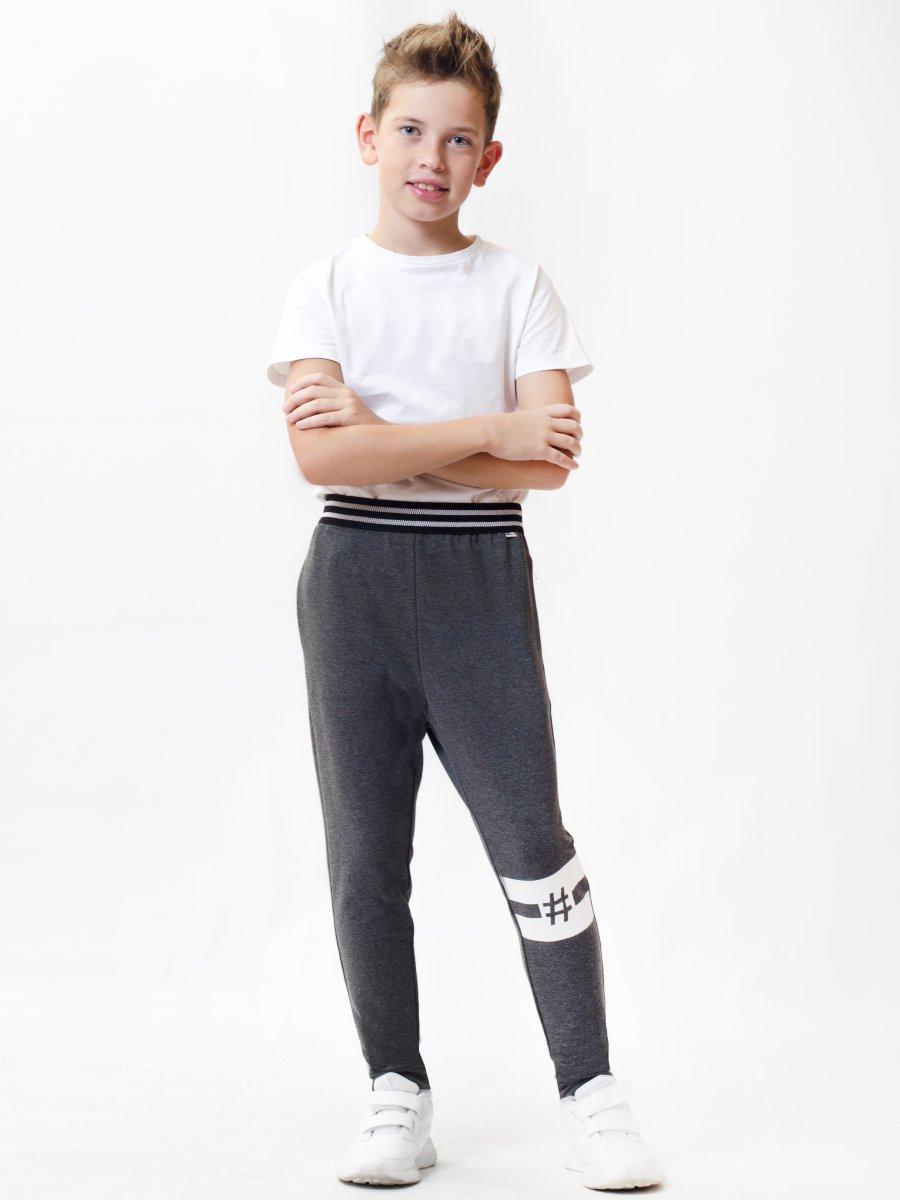 Брюки для мальчика из футера 2-х нитки, цвет: темно-серый