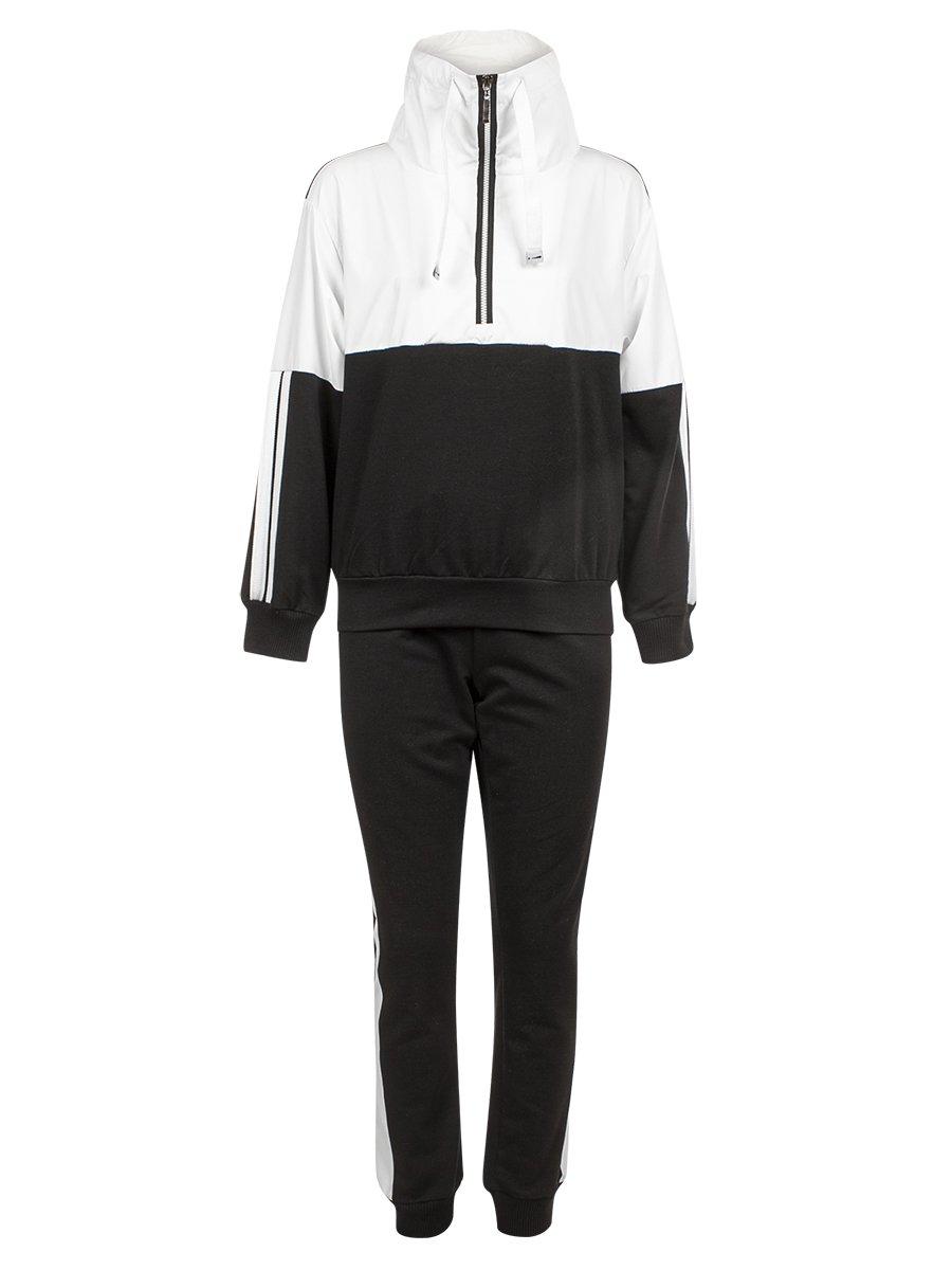 Костюм спортивный: толстовка и брюки зауженные со средней посадкой на манжете, цвет: черный