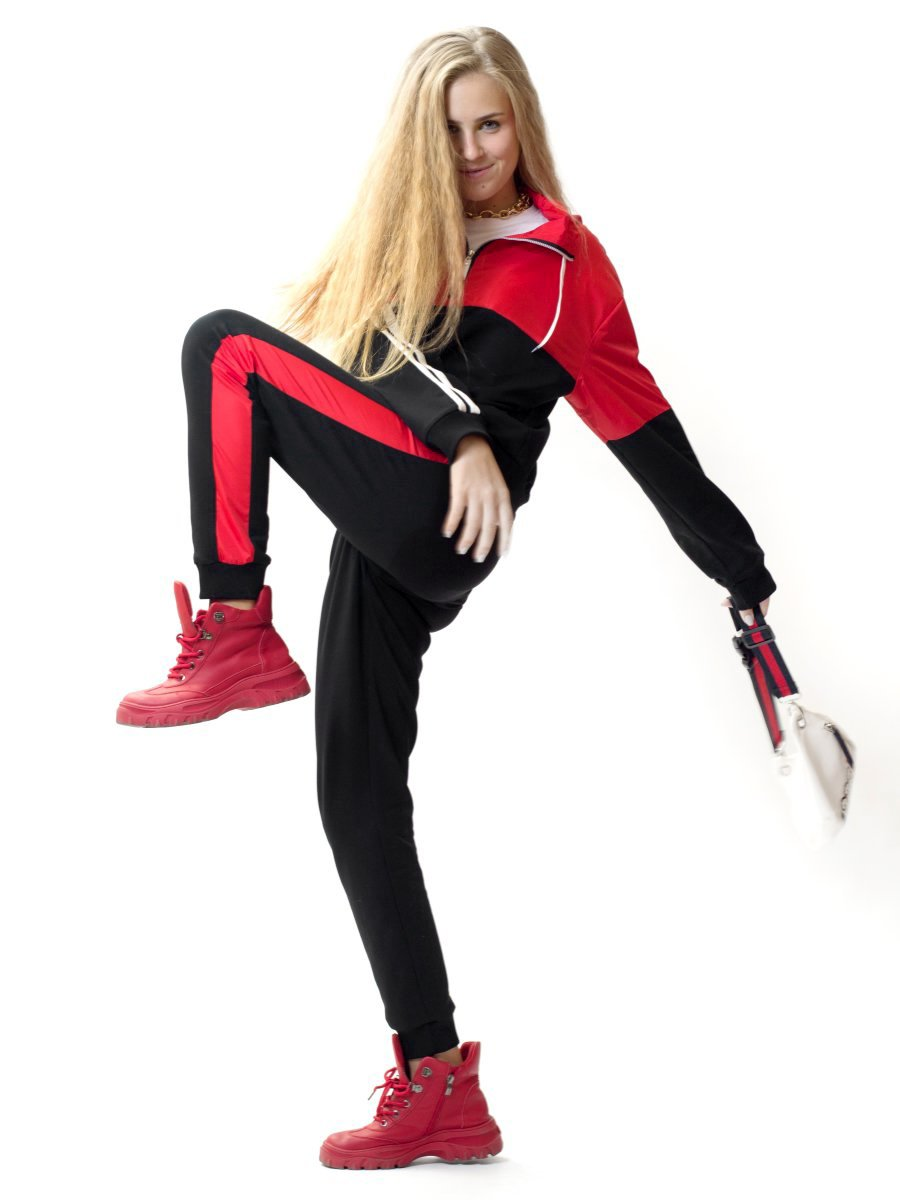 Костюм спортивный: толстовка и брюки зауженные со средней посадкой на манжете, цвет: красный