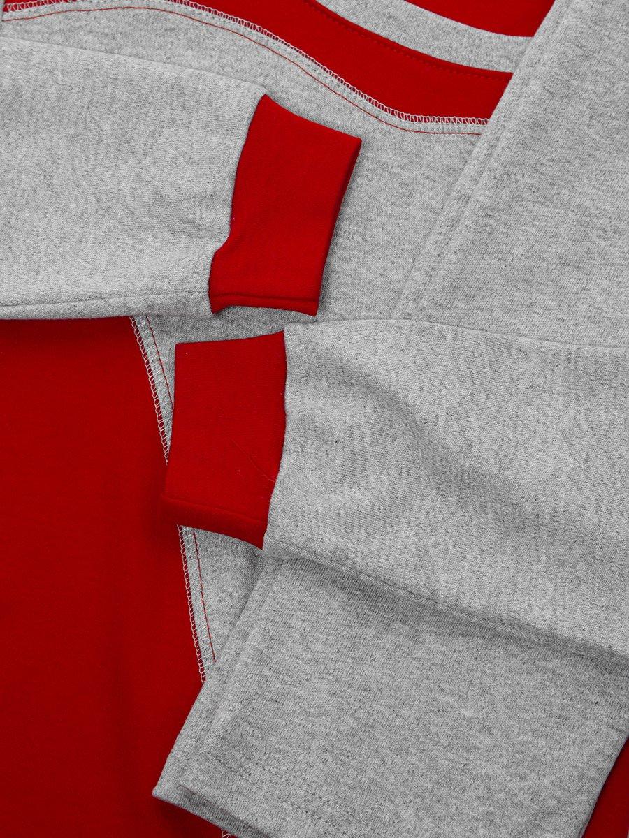Костюм спортивный:свитшот удлиненный и брюки зауженные со средней посадкой, цвет: красный