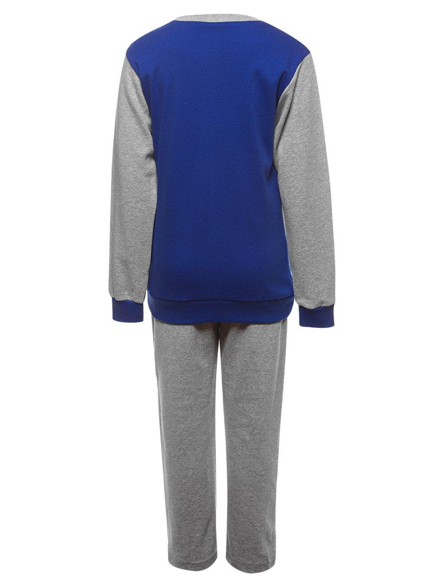 Костюм спортивный:свитшот удлиненный и брюки зауженные со средней посадкой, цвет: синий