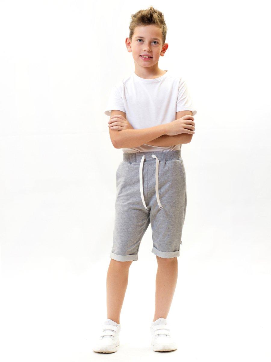 Бриджи зауженные со средней посадкой для мальчика, цвет: серый меланж