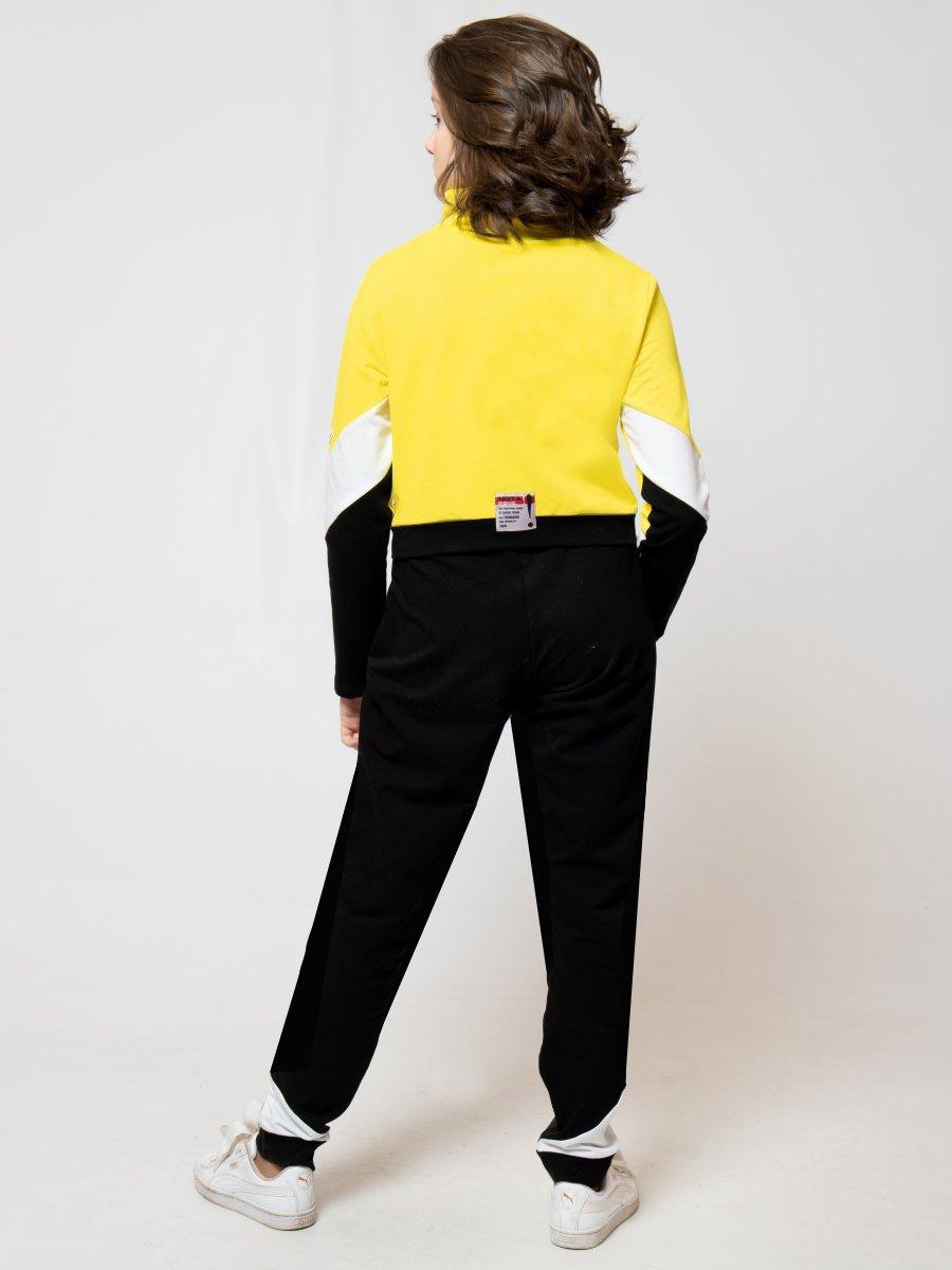 Костюм спортивный:бомбер укороченный и брюки зауженные со средней посадкой, цвет: желтый