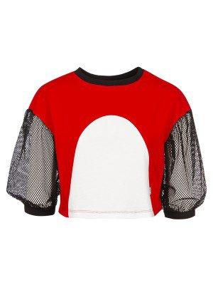 Блузка трикотажная из кулирки с лайкрой и сетки