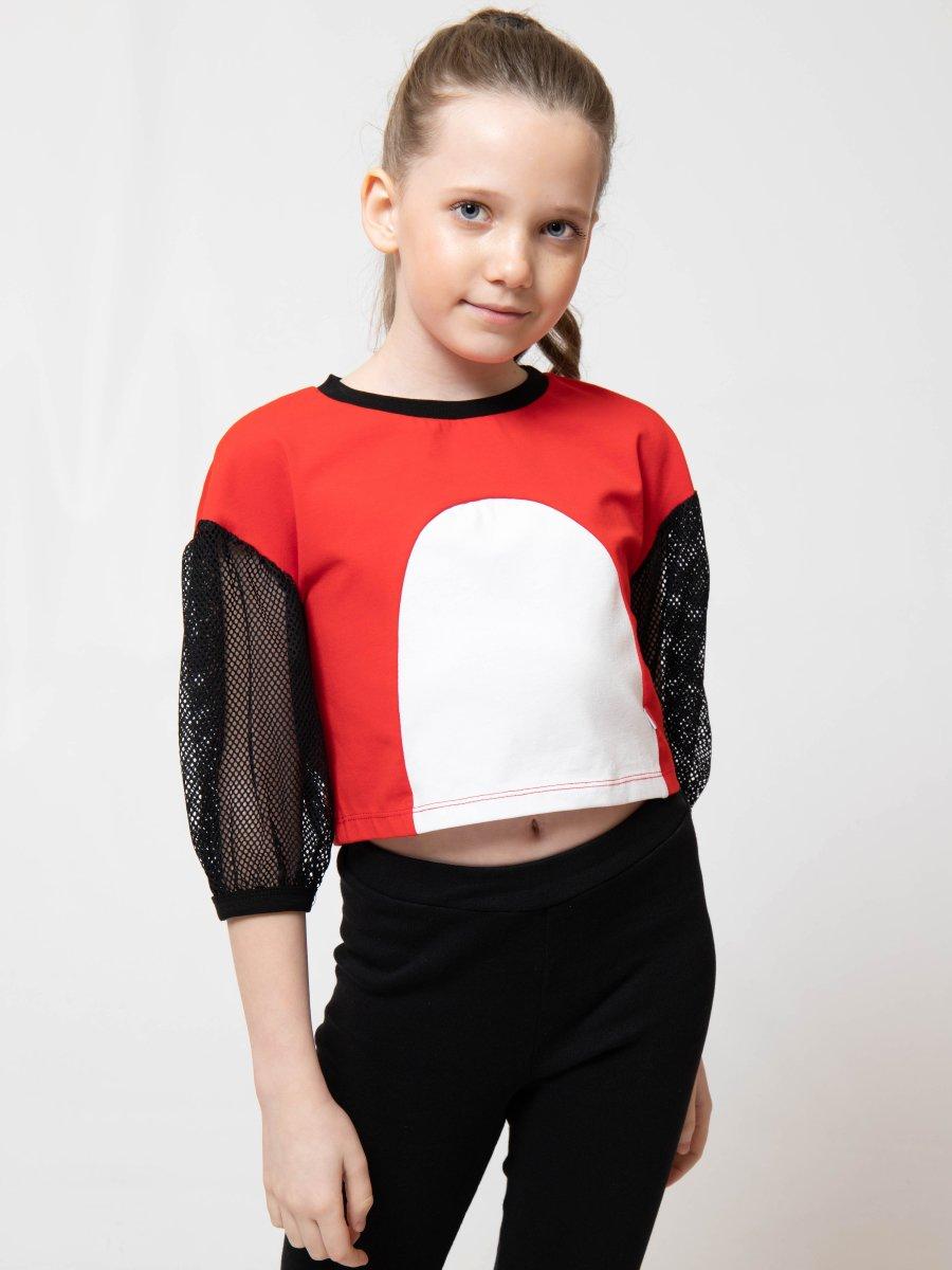 Блузка трикотажная из кулирки с лайкрой и сетки, цвет: красный