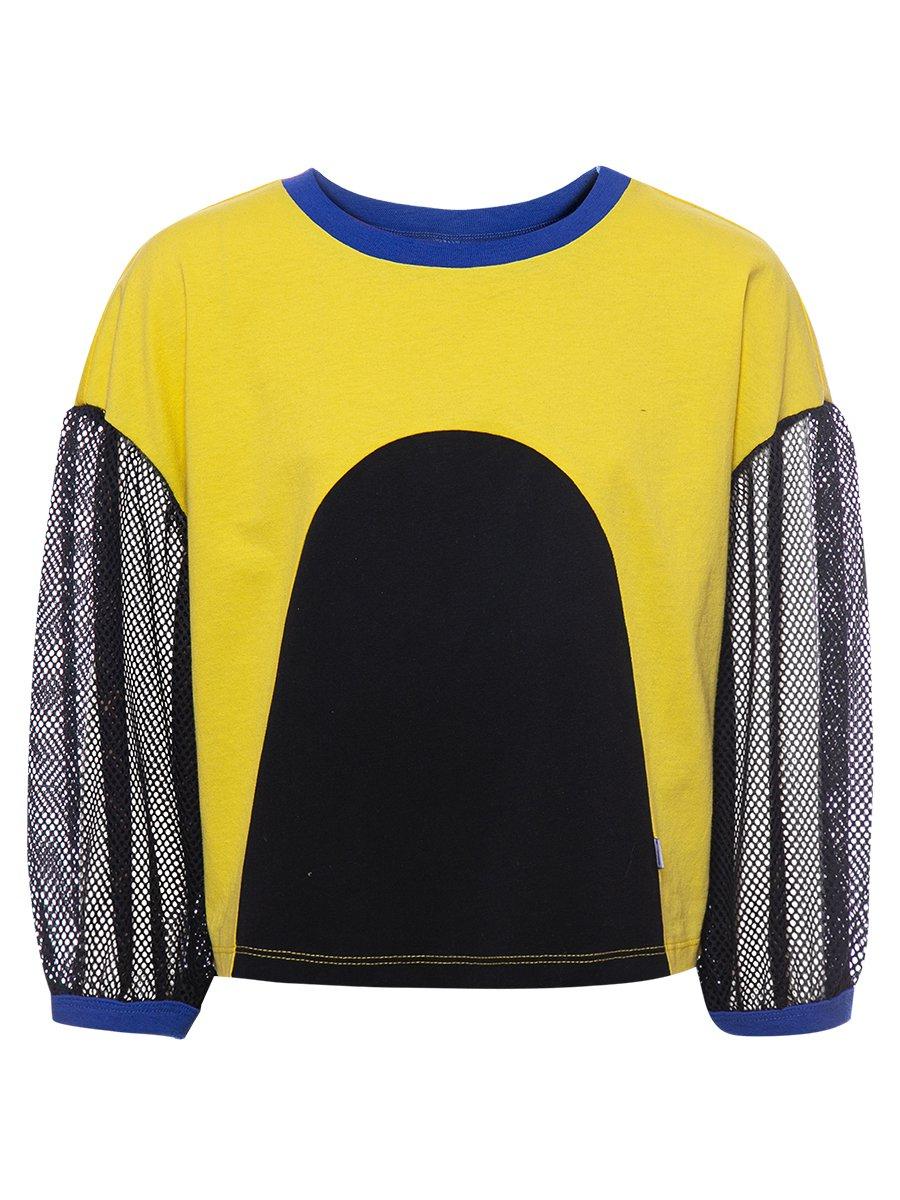 Блузка укороченная свободного силуэта, цвет: желтый
