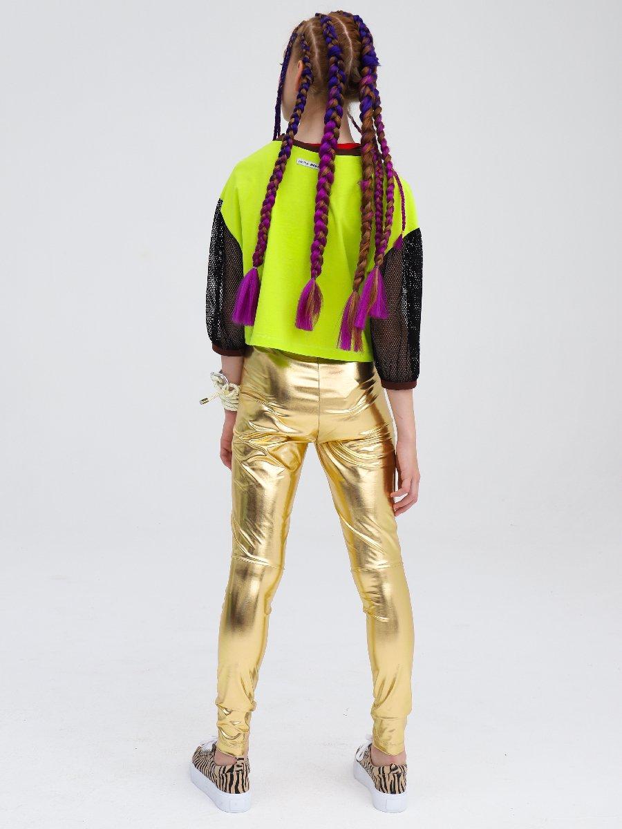 Блузка укороченная свободного силуэта, цвет: салатовый,коричневый