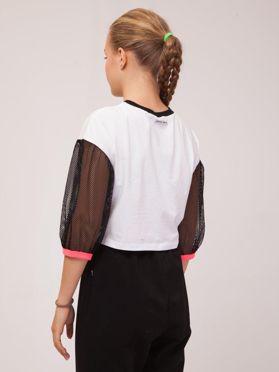 Блузка трикотажная из кулирки с лайкрой и сетки, цвет: белый