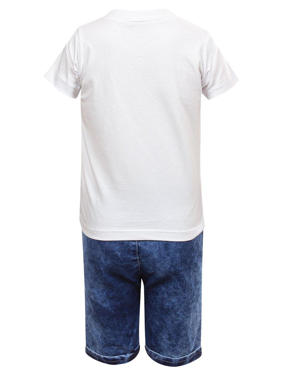 Комплект для мальчика: футболка и джинсовые шорты, цвет: белый