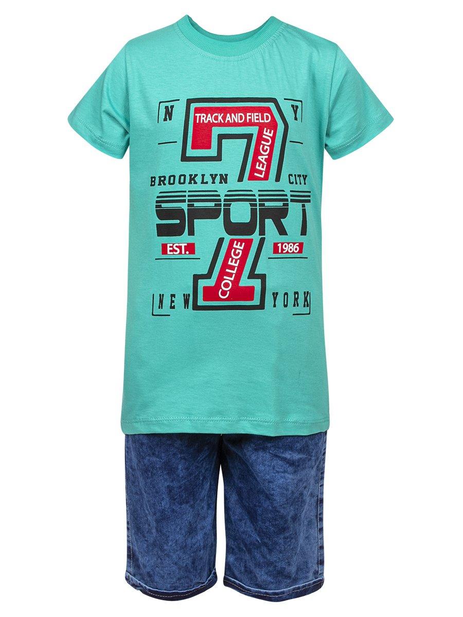 Комплект для мальчика: футболка и джинсовые шорты, цвет: мятный